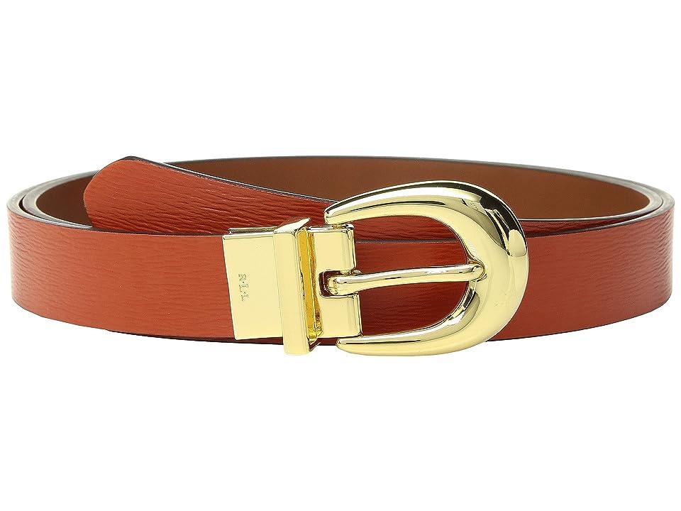 LAUREN Ralph Lauren 1 Saffiano to Smooth Reversible Belt (Burnt Orange/Lauren Tan) Women
