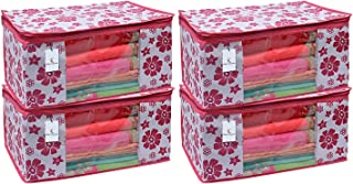 Kuber Industries 4 Piece Non Woven Saree Cover Set, Pink,Large Size -CTKTC6402