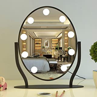 YXZQ Makeup Mirror, Creative LED Desk with Light Modern Simple 360° Rotation Dressing Table Beauty Mirror Women Home Salon Use