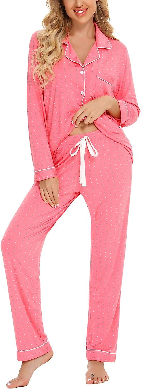 Anjue Pajamas Set Long Sleeve Sleepwear for Womens Button Down Nightwear Soft Pj Lounge Sets S-XXL