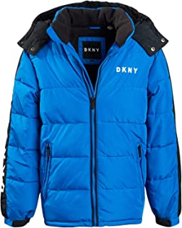 DKNY Boys' Heavyweight Polar Fleeced Lined Puffer Bubble Jacket with Hood