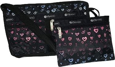 LeSportsac Heart Beat Deluxe Shoulder Satchel Crossbody Bag + Cosmetic Bag, Style 7519/Color D995