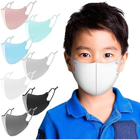 マスク 夏用 冷感マスク 6枚セット アイスシルク 紐の長さ調整可能 洗えるマスク UVカット 布マスク 男女兼用 Naturali (子供用(ライトグレー))
