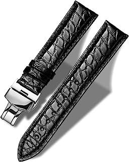 MUEN Bracelet Cuir de Crocodile Véritable avec Boucle Déployante, 12mm-24mm, Accessoires de Montre de Remplacement en Alli...