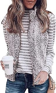 ZESICA Women's Sleeveless Zip Up Fuzzy Fleece Lightweight Fall Warm Zipper Vest Pockets