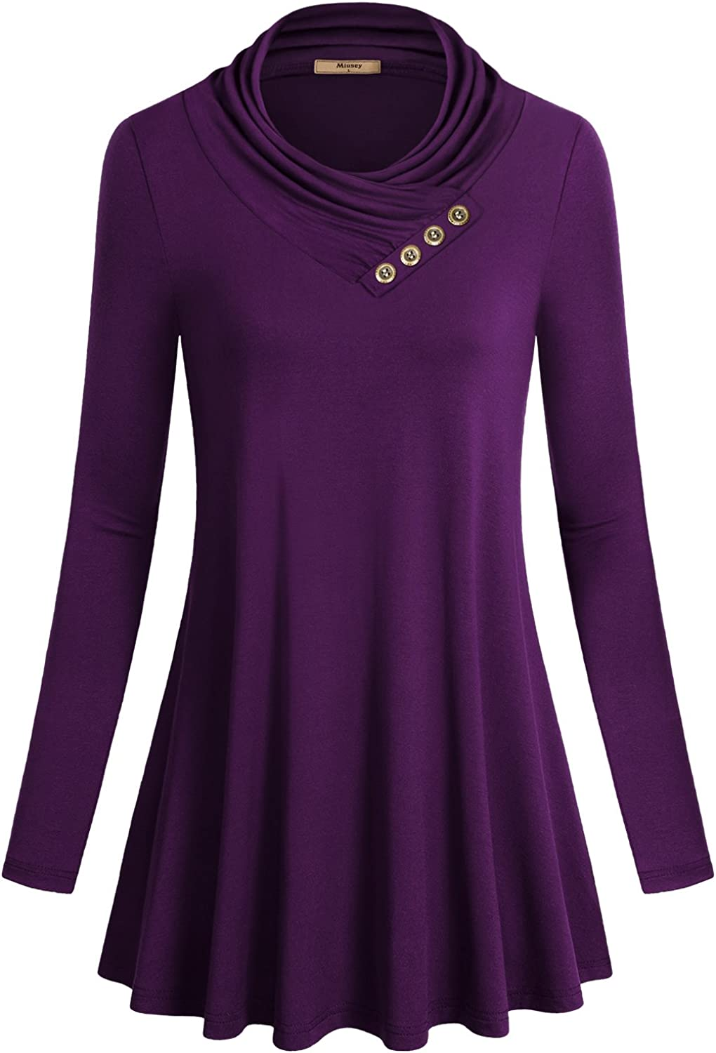 Miusey Women's Long Sleeve Cowl Neck Fitting Free shipping Tunic Casual T Super beauty product restock quality top Form