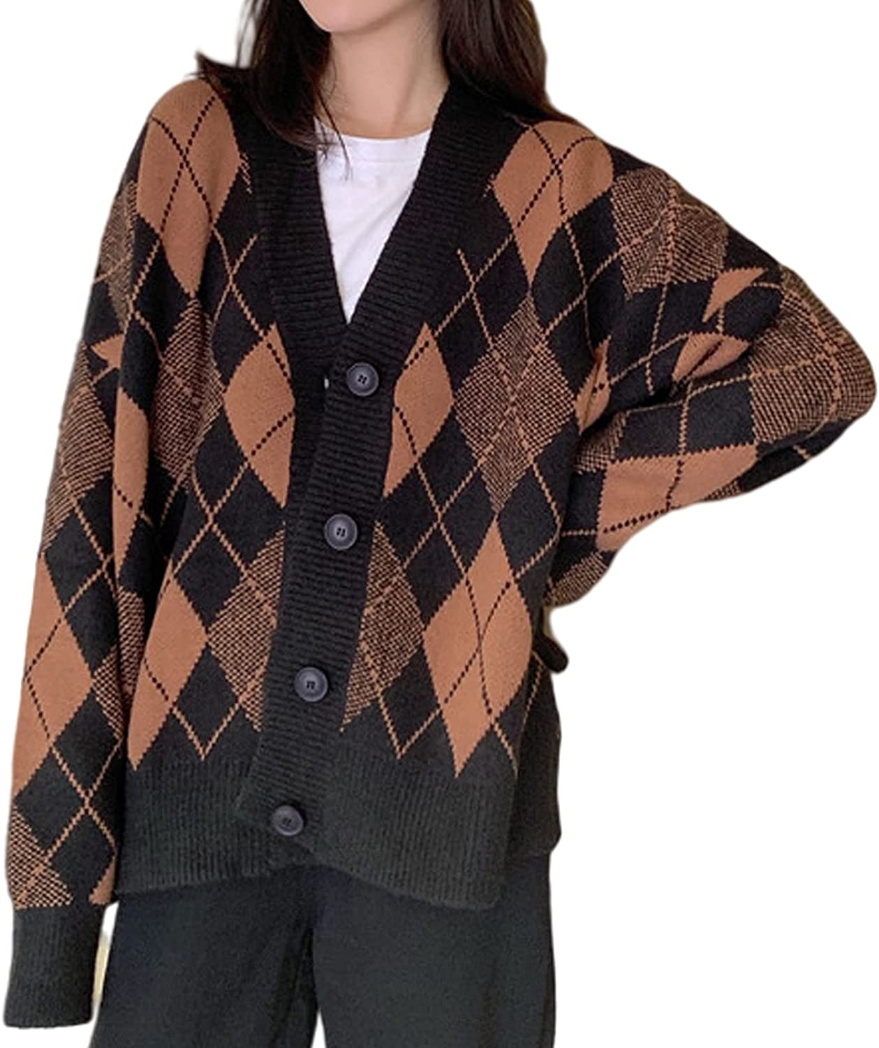 Women V-Neck Argyle 40% OFF Cheap Large-scale sale Sale Knitted Color Cardiga Button Block Oversized