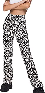 Yoiway Women's Loose Zebra Print Striped Flared Pants High Waist Fashion Casual Pants Streetwear Sexy Sweatpants