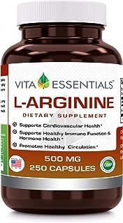 Vita Essentials L-arginine 500 Mg Capsules, 250 Count