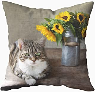 Shorping Decorative Pillow Covers, Zippered Covers Pillowcases 16X16Inch Throw Pillow Covers in Oil Painting Style of Cat and Sunflowers for Home Sofa Bedding