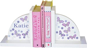 MyBambino Personalized Lavender Butterfly Bookends for Girls
