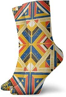Hunter qiang, Calcetines para mujeres y hombres, tribal vector ornamental. Calcetines deportivos africanos sin costuras, 30 cm