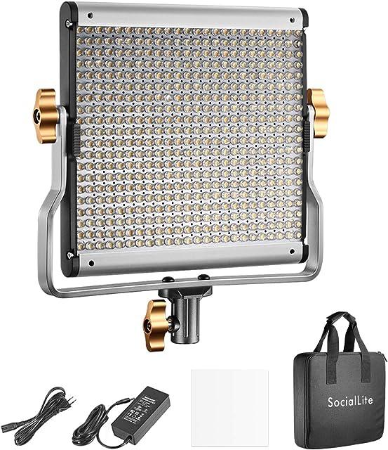 SocialLite Regulable Bi-Color LED Video Luz 480 Leds 3200K-5600K CRI 96+ con Soporte en U Filtro Suave y Bolsa de Transporte Carcasa Metálica para Fotografía Estudio Iluminación LED