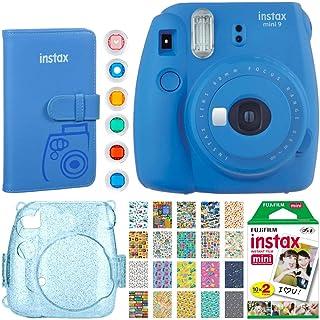 Fujifilm Instax Mini 9 Instant Camera (Cobalt Blue) + Fujifilm Instax Mini Instant Film (20 Shots) + Glitter Hard Case + Fujifilm Wallet Album + Colored Lens Filters + 20 Sticker Frames Travel Package
