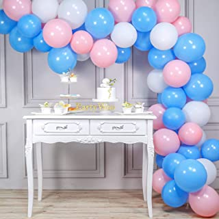 PartyWoo Blue Pink Balloons, 100pcs 10 in Baby Blue Balloons, Baby Pink Balloons, White Balloons, Pink and Blue Balloons for Gender Reveal, He or She Gender Reveal, Boy or Girl Party, Pink Baby Shower