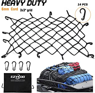 "EZYKOO Cargo Nets 47"" x 36"",6mm Premium Bungee Cord Net,3"" x 3"" Grid Mesh Cargo Net,Auto Roof Tie-Down Net with 14 Hooks"