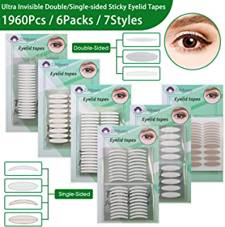 6 Packs Natural Invisible Single/Double Side Eyelid Tapes Stickers, Medical-use Fiber..