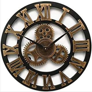 XiXiHao New Large 12 Inches Wall Clock Vintage Gear Clock American Style Living Room 3D Wall Clock Modern Design Decoration for Home Wooden Clocks (Romon Gold)
