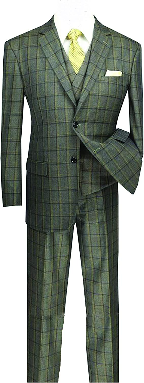 VINCI Men's Window Pane 2 Button Single Breasted Classic Fit Suit W/Shawl Collar Vest V2RW-12