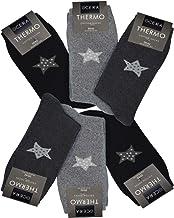 OCERA 6 Paar Thermo Socken für Damen mit Sternenlogo, Winterkristallen oder Rautenmuster am Schaft