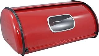 Modern Red Metal Clear Front Window Rolltop 2 Loaf Bread Box/Storage Bin - MyGift