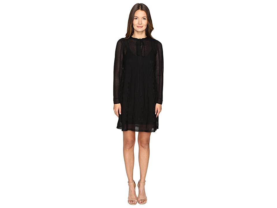 M Missoni Lace Stripe Long Sleeve A-Line Dress (Black) Women