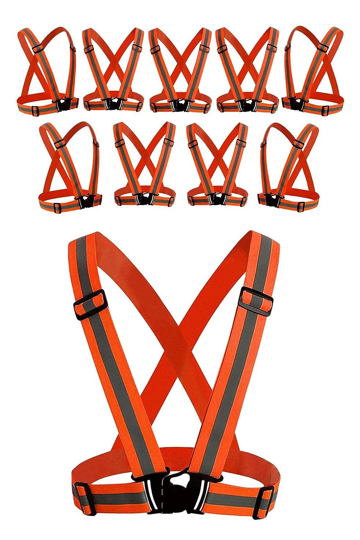(AFROMARKET) 安全ベスト 反射ベスト 交通警備 夜間 警備 誘導 ガードマン 工場 工事現場用 調節可能 複数 セット 橙(オレンジ)