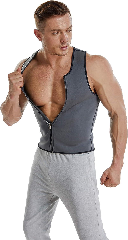 Hot Sauna Sweat Slimming Vest  Neoprene Waist Trainer Corset Bodyshaper, Zipper Closure Workout Tank Top Shirt for Weightloss Men
