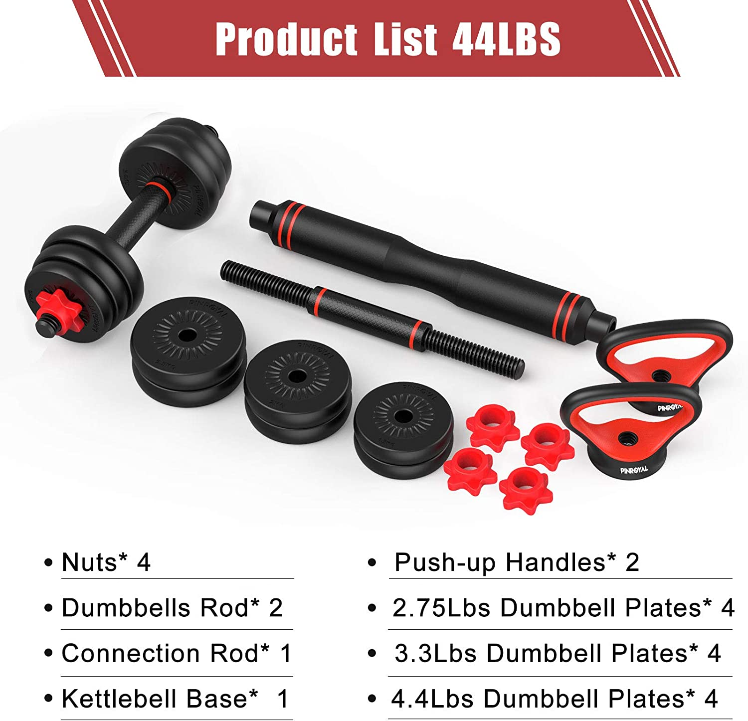 PINROYAL 4 in 1 Adjustable Dumbbell Set Push up Fitness Home Gym for Men Women 44LB//66LB//88LB Free Weights Dumbbells Set with Connecting Rod Used as Barbell Non-slip Handles /& Base for Kettlebells