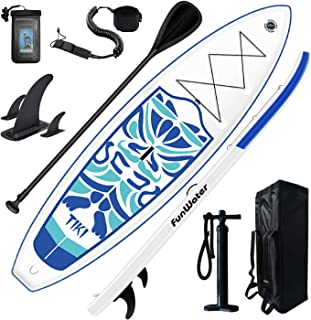 FunWater Inflatable Stand Up Paddle Board 10'6''x33''x6'' Ultra-Light (17.6lbs) Paddleboard with ISUP Accessories,Three Fi...