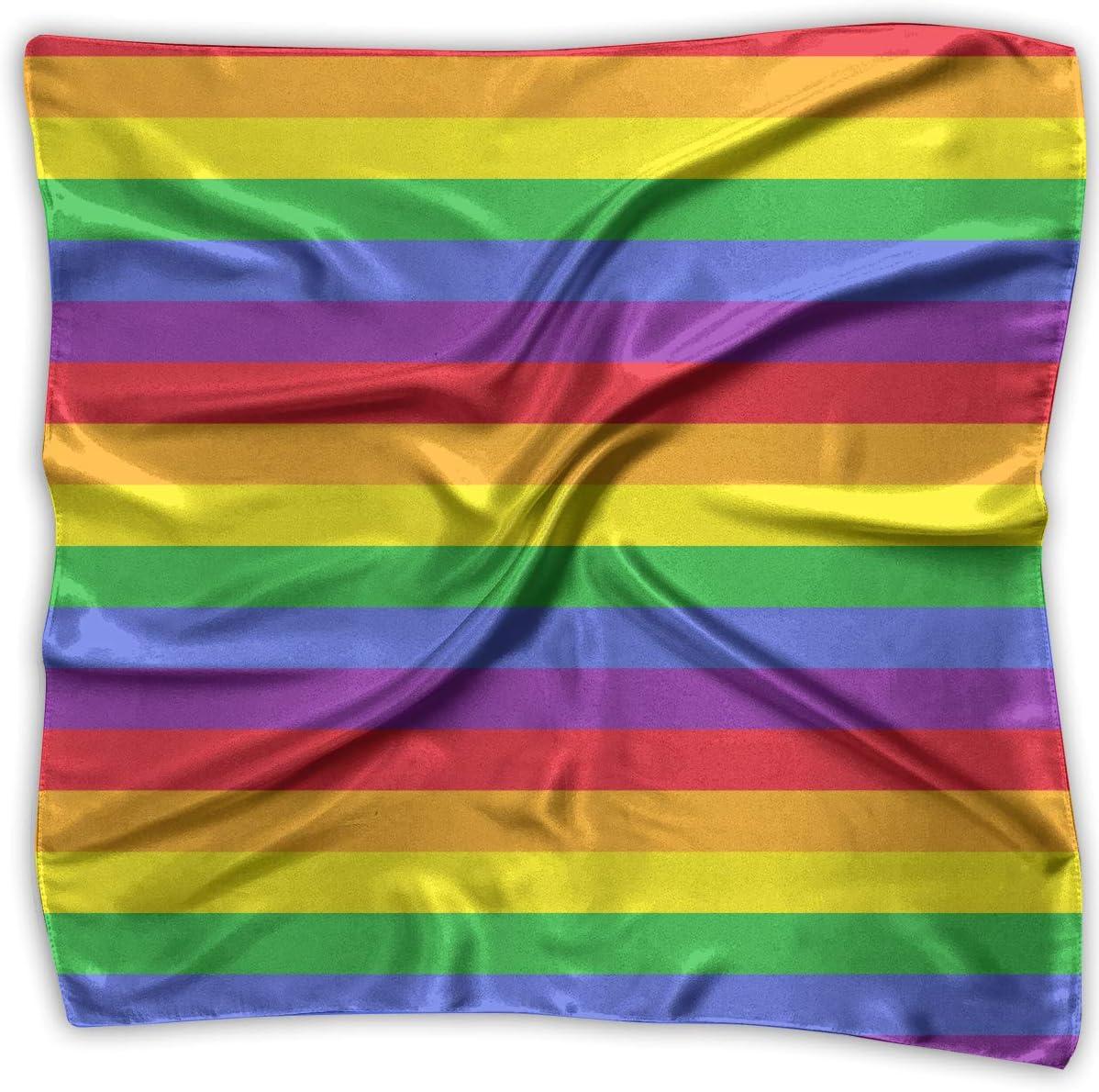 YANGZXC LGBT Gay Pride Rainbow Stripes Handkerchief Polyester Pocket Square Mulipurpose Silk Bandanas Delicate Printing