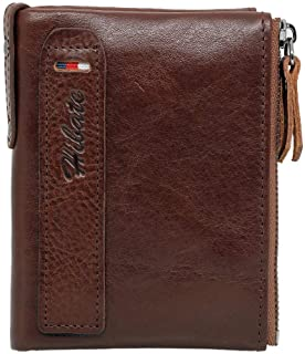Hibate Men Leather Vertical Wallet RFID Blocking Men's Wallets Credit Card Holder Coin Pocket Purse - Deep_Brown