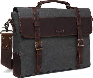 Messenger Bag for Men, Vaschy Vintage Leather Canvas Satchel 15.6inch Laptop Business Briefcase Crossbody Shoulder Bag with Detachable Strap Gray