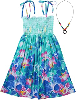 Oyolan Kids Girls Beach Dress Halter Summer Casual Dress Holiday Spaghetti Straps Bohemian Dresses Rainbow Flower Girl Sun...