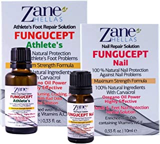 FunguCept Combo. Nail and Athlete Repair Solution. Ideal for Nail and Athlete Associated Problems. 0.33 fl.oz. - 10ml, 1 oz - 30 ml.