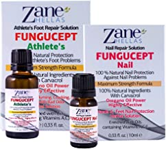 Zane Hellas FunguCept Combo. FunguCept Nail 0.33 fl.oz. and FunguCept Athlete's 1fl.oz.-30ml. Fungal Nail Solution and Fug...