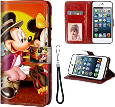 Apple iPhone 5S SE 5 (5.5inch) Leather Wallet Case Cartoon Mickey and Minnie Mouse Sunset Romantic Couple HD Wallpapers Faux Leather