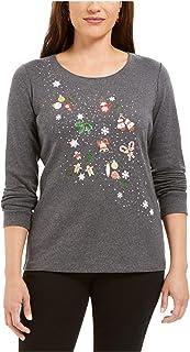 KAREN SCOTT Womens Gray Graphic Long Sleeve Jewel Neck Holiday Sweater AU Size:10