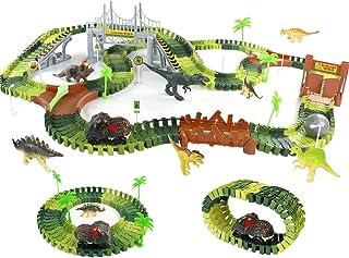 Symiu Dinosaure Enfant Jouet Circuit Voiture Electrique Jeux Circuit Flexible avec 8 Dinosaures Jouet Cadeaux pour Enfant ...