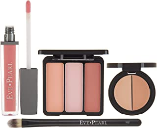 EVE PEARL 4 Pcs Conceal Brighten And Enhance Your Face Dual Salmon Concealer Brush Blush Lip Gloss Set Make Up Kit (Light)