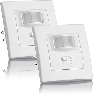 SEBSON® 2X Detector de Movimiento Empotrable, Interior, LED Adecuado, Montaje en Pared, programable, Sensor de Infrarrojos, Alcance 9m / 160°