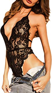 Lace Bodysuit for Women Sexy Eyelash Teddy Lingerie Naughty Negligee Black Bodysuit