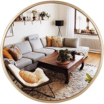 Amazon Com Geloo Large Gold Round Wall Mirror 28 Circle Mirror Modern Mirror Accent Mirror Room Mirrors Vanity Mirror Decorative Mirrors For Wall Decor Bedroom Bathroom Living Room Entryway Furniture Decor