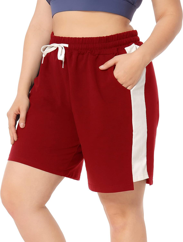 ZERDOCEAN Women's Plus Size Casual Athletic Shorts Lounge Yoga Pajama Sweat Walking Shorts Workout Activewear