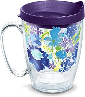 Tervis 1290905 Fiesta Floral Tumbler with Wrap and Royal Purple Lid, Tritan, Clear