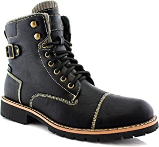 Polar Fox Brady MPX508571 Mens Casual Classic Combat Fur Lined High-Top Motorcycle Boots