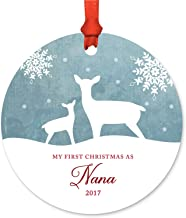 Andaz Press Family Metal Christmas Ornament, My First Christmas As Nana 2019, Rustic Deer Winter Snowflakes, 1-Pack, Includes Ribbon and Gift Bag