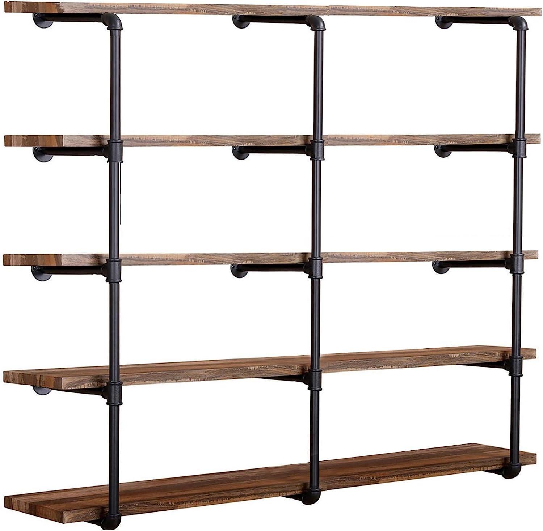 Industrial Wall Mounted Iron Pipe Shelf Shelf Vintage Retro Black ...