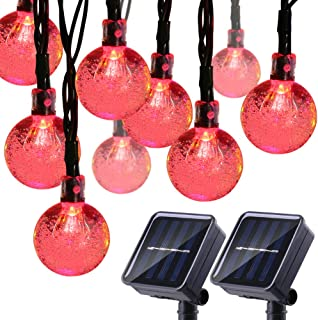 Joomer 2 Pack Globe Solar String Lights, 20ft 30 LED Solar Globe Lights,Waterproof 8 Modes Crystal Ball Lighting for Patio, Lawn, Garden, Wedding, Party, Christmas Decorations (Red)