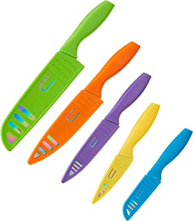Hampton Forge HMC01E550S Tomodachi - Rainbow Titanium 10 Piece Kitchen Knife Set/Cutlery Set – Non-Stick Titanium Plated B...